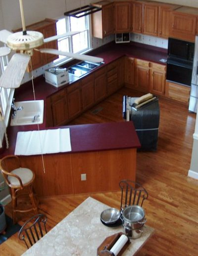 Before arial shot of a kitchen