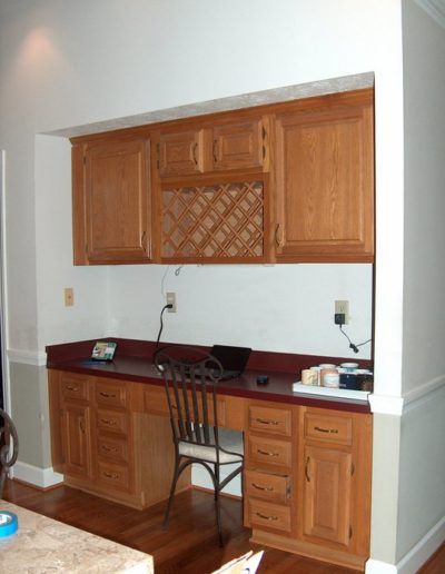 Before Shot of a desk/coffee bar in a kitchen