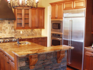 wood finish kitchen cabinet stone backsplash stone kitchen